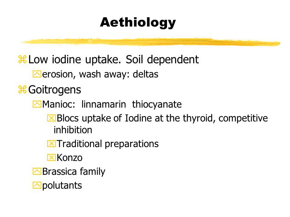 Aethiology zLow iodine uptake.