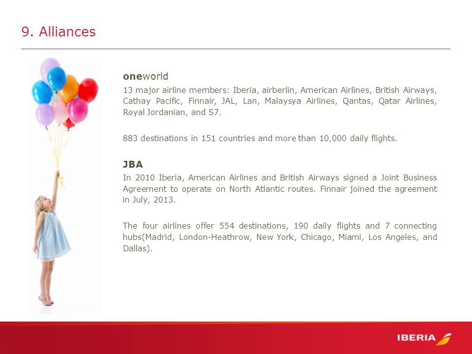 oneworld 13 major airline members: Iberia, airberlin, American Airlines, British Airways, Cathay Pacific, Finnair, JAL, Lan, Malaysya Airlines, Qantas, Qatar Airlines, Royal Jordanian, and S7.