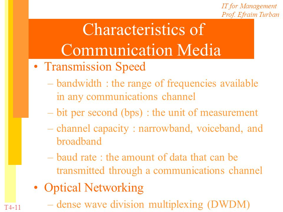 IT for Management Prof. Efraim Turban T4-11 Characteristics of Communication Media Transmission Speed –bandwidth : the range of frequencies available
