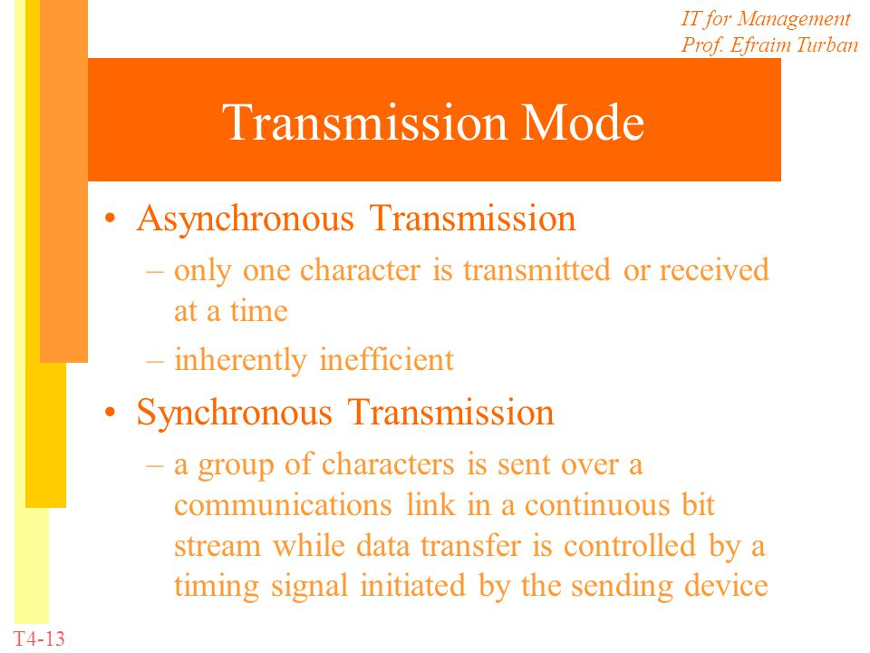 IT for Management Prof. Efraim Turban T4-13 Transmission Mode Asynchronous Transmission –only one character is transmitted or received at a time –inhe