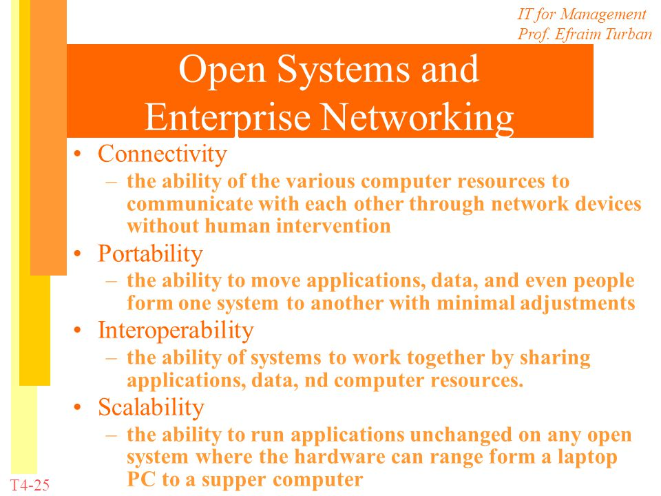 IT for Management Prof. Efraim Turban T4-25 Open Systems and Enterprise Networking Connectivity –the ability of the various computer resources to comm