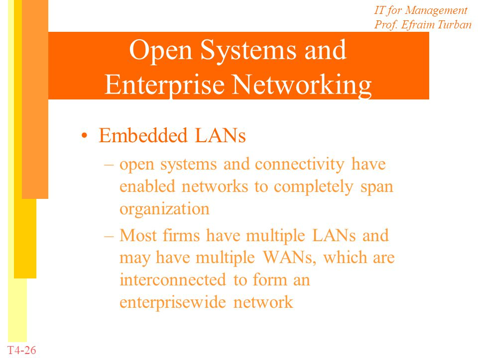 IT for Management Prof. Efraim Turban T4-26 Open Systems and Enterprise Networking Embedded LANs –open systems and connectivity have enabled networks