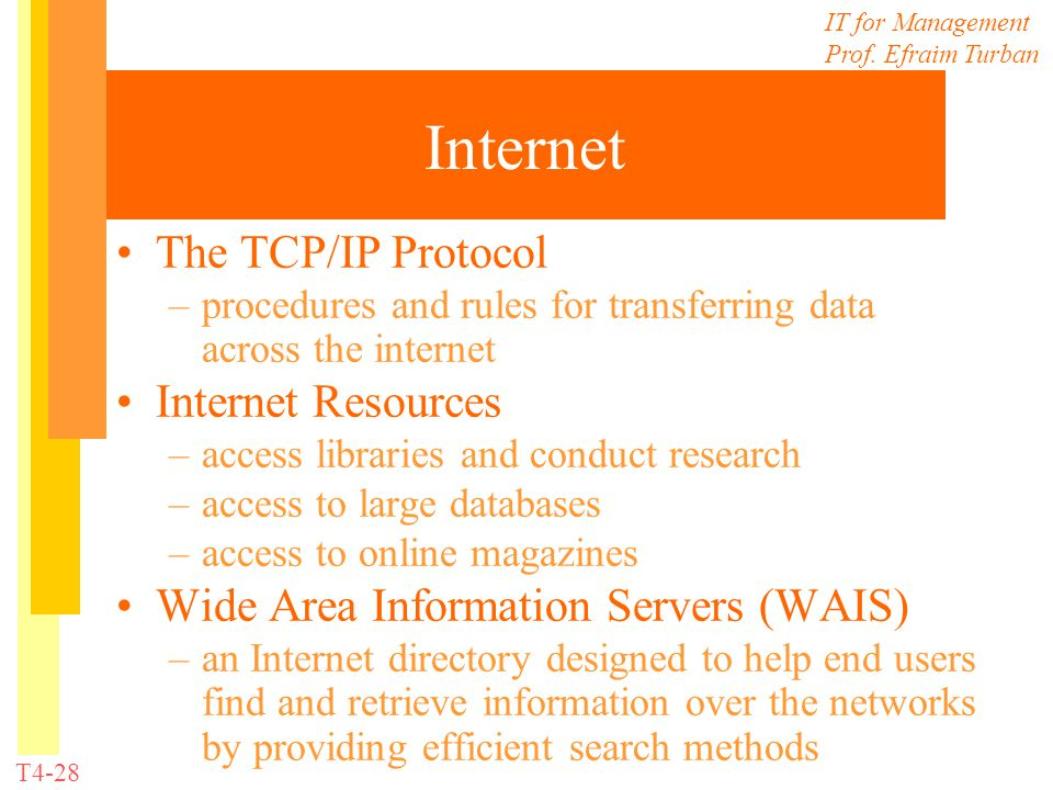 IT for Management Prof. Efraim Turban T4-28 Internet The TCP/IP Protocol –procedures and rules for transferring data across the internet Internet Reso