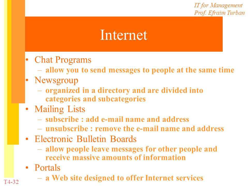 IT for Management Prof. Efraim Turban T4-32 Internet Chat Programs –allow you to send messages to people at the same time Newsgroup –organized in a di