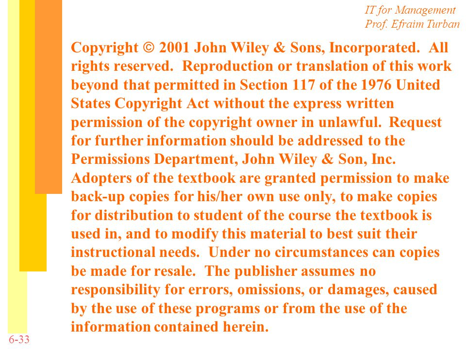 Copyright  2001 John Wiley & Sons, Incorporated. All rights reserved. Reproduction or translation of this work beyond that permitted in Section 117 o