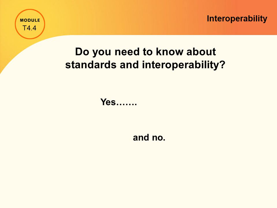 Do you need to know about standards and interoperability Yes……. and no. T4.4 Interoperability