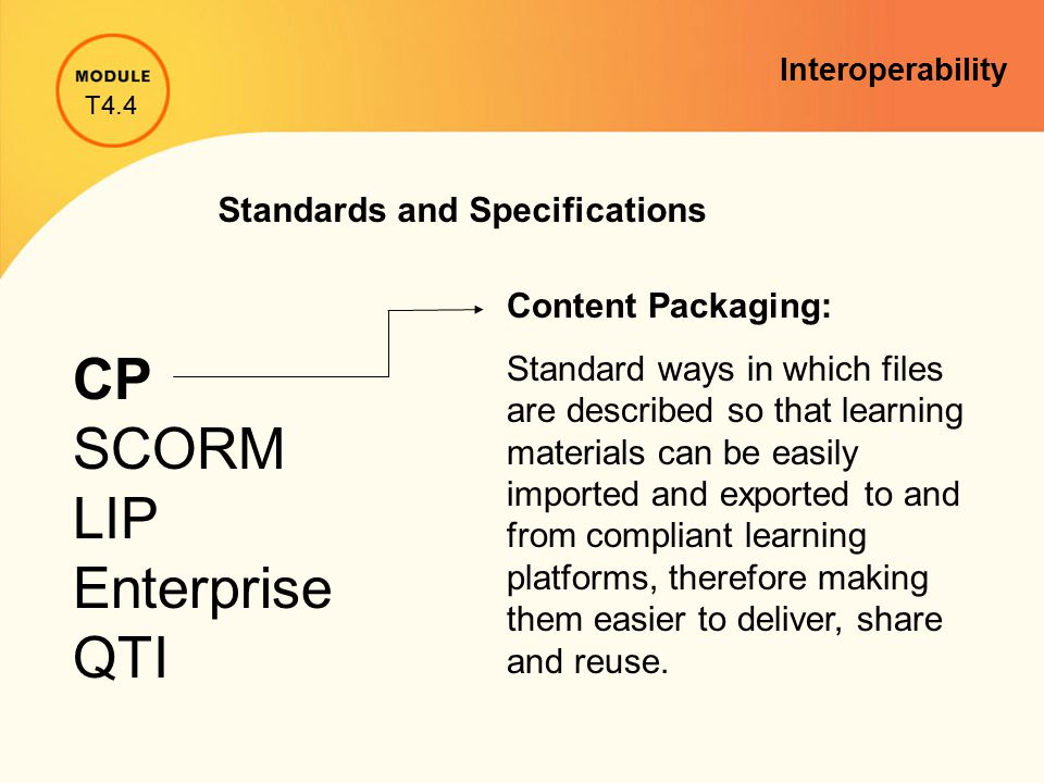 Standards and Specifications CP SCORM LIP Enterprise QTI Content Packaging: Standard ways in which files are described so that learning materials can