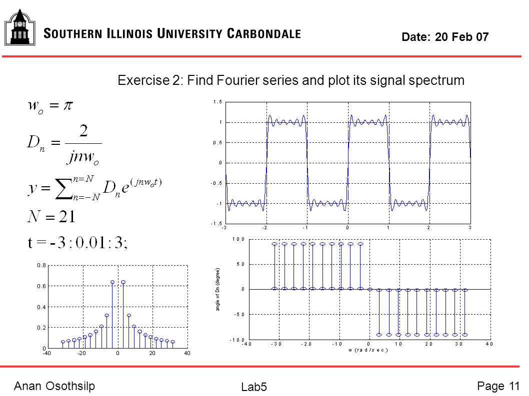 Anan OsothsilpPage 11 Lab5 Date: 20 Feb 07 Exercise 2: Find Fourier series and plot its signal spectrum