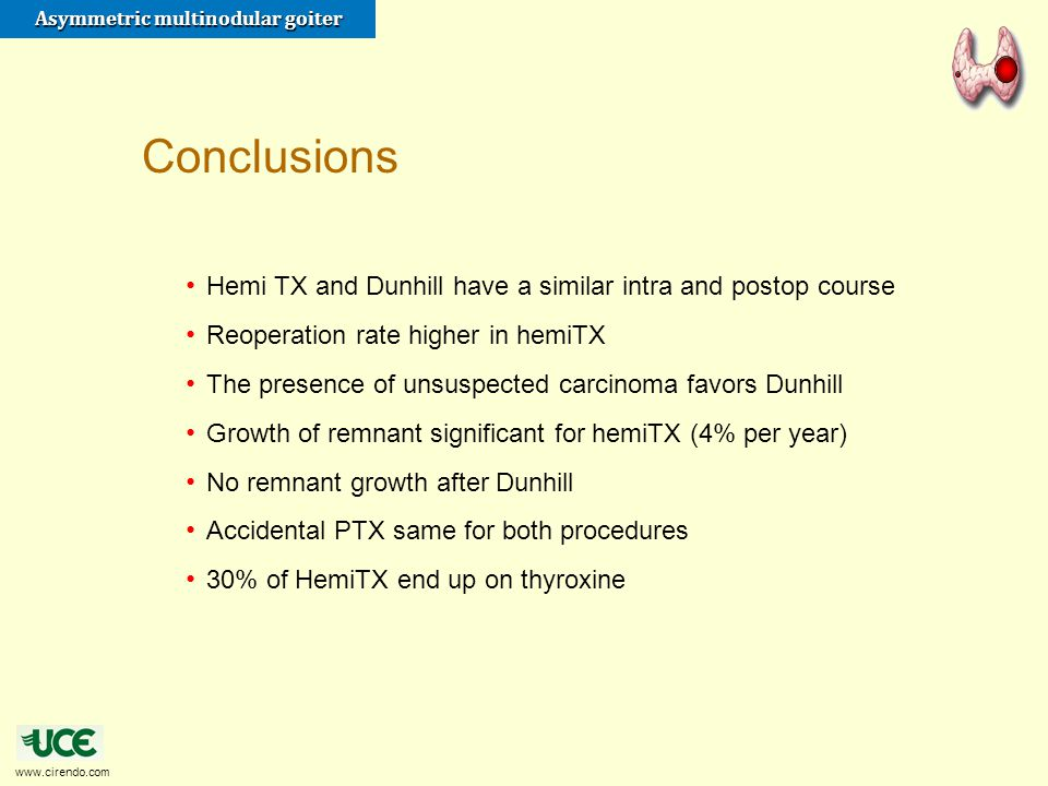 www.cirendo.com Asymmetric multinodular goiter Hemi TX and Dunhill have a similar intra and postop course Reoperation rate higher in hemiTX The presen