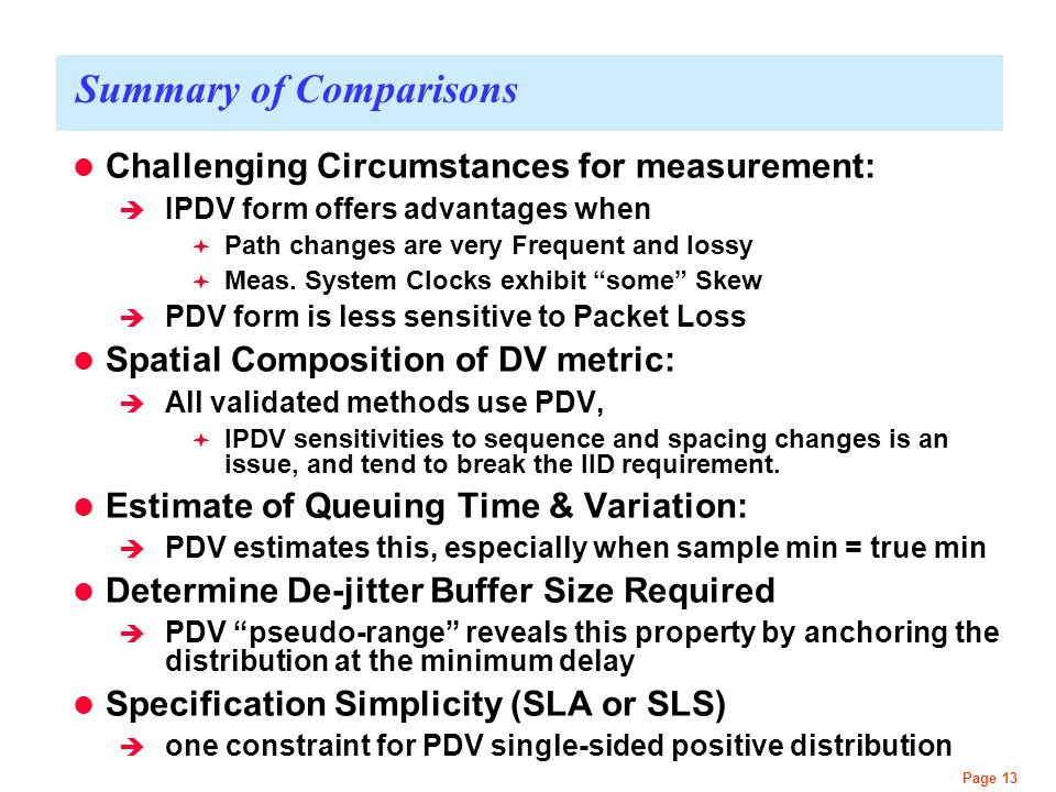 Page 13 Summary of Comparisons Challenging Circumstances for measurement:  IPDV form offers advantages when  Path changes are very Frequent and loss