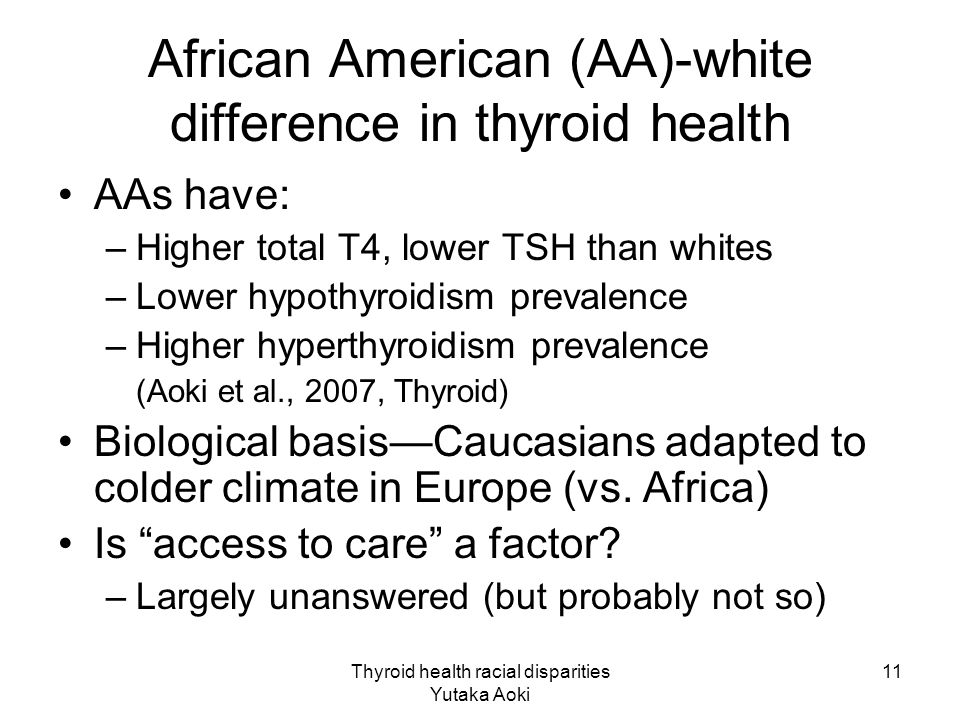 Thyroid health racial disparities Yutaka Aoki 11 African American (AA)-white difference in thyroid health AAs have: –Higher total T4, lower TSH than whites –Lower hypothyroidism prevalence –Higher hyperthyroidism prevalence (Aoki et al., 2007, Thyroid) Biological basis—Caucasians adapted to colder climate in Europe (vs.