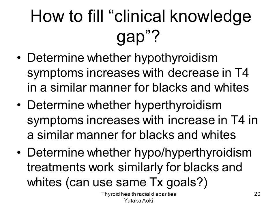 Thyroid health racial disparities Yutaka Aoki 20 How to fill clinical knowledge gap .