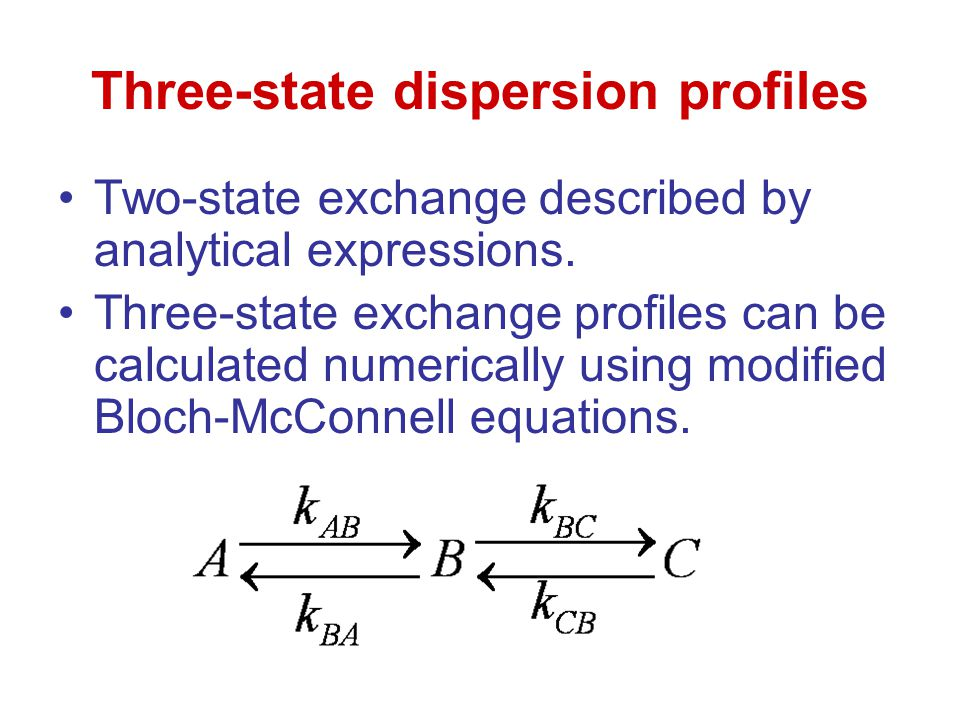 Three-state dispersion profiles Two-state exchange described by analytical expressions. Three-state exchange profiles can be calculated numerically us
