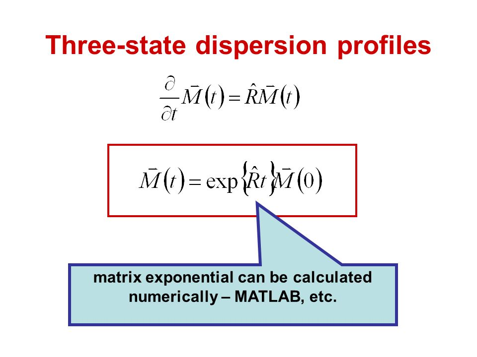 Three-state dispersion profiles matrix exponential can be calculated numerically – MATLAB, etc.