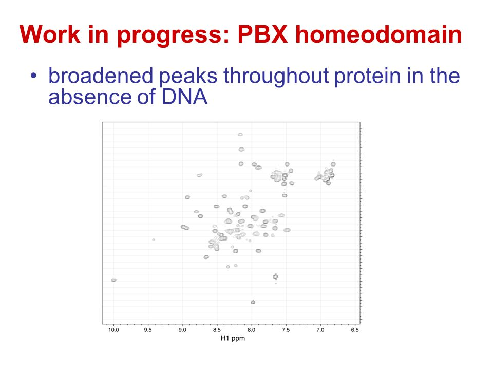 Work in progress: PBX homeodomain broadened peaks throughout protein in the absence of DNA