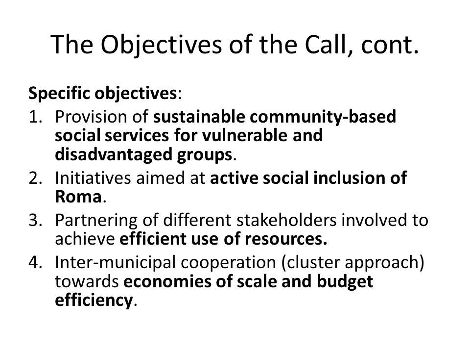 The Objectives of the Call, cont. Specific objectives: 1.Provision of sustainable community-based social services for vulnerable and disadvantaged gro