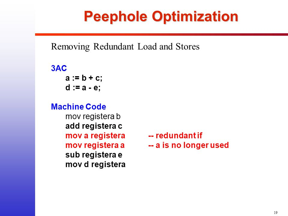 19 Peephole Optimization Removing Redundant Load and Stores 3AC a := b + c; d := a - e; Machine Code mov registera b add registera c mov a registera--