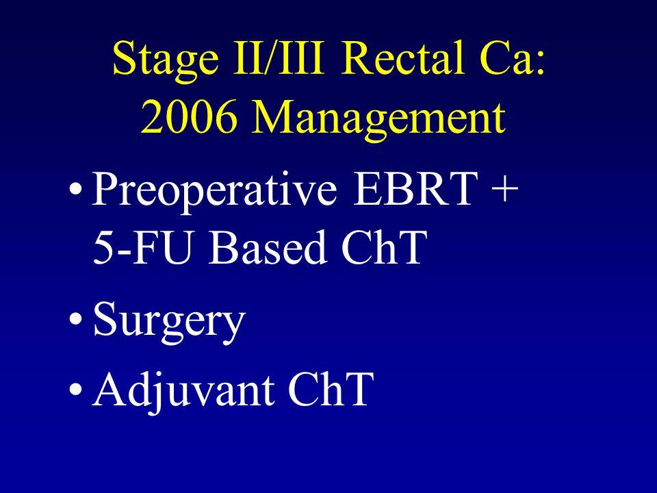 RTOG 0012: Results pCR (%) Acute G ¾ GI Toxicity (%) Late G 3/4 GI Toxicity (%) EBRT / 5-FU + CPT-11 (54 Pts) 28 19 2.0 EBRT / 5-FU (52 Pts) 28 13 2.0