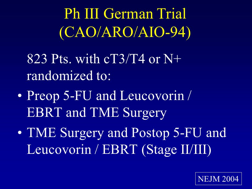 RTOG 0247: Cape, RT + Oxali or CPT-11 Preop Phase II, Pts with cT3-T4 Disease Randomized to: Oxali (50 d 1, 8, 15, 22 & 29), Cape (825 BID, 5 d per w) & RT 50.4 Gy/1.8 Gy qd CPT-11 (50 d1, 8, 22 & 29), Cape (600 BID, 5 d per w) & RT 50.4 Gy/1.8 Gy qd Opened: February 2004 Amended: March 2005 Planned Accrual: 141 R