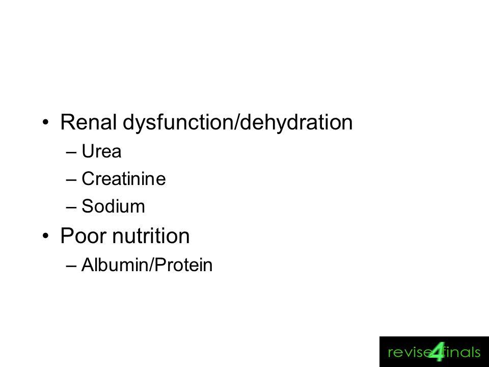 Renal dysfunction/dehydration –Urea –Creatinine –Sodium Poor nutrition –Albumin/Protein