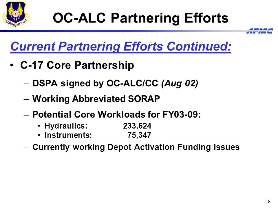 9 OC-ALC Partnering Efforts Potential Partnering Efforts: Organic Software and Boeing and Bomber Software Development (B-52) –Initial partnering discussions/negotiations (Apr 02) OC-ALC and General Electric Strategic Alliance Team (SAT) Partnership –Strategic Direction Document Signed in Feb 03 for 8 Phase 1 efforts regarding F110, F108, F101 Material Support, and Technical Training –MOU signed 11 Aug 03 OC-ALC and Standard Aero C-130J Engine Partnership (AE2100) –Strategic Direction Document currently under development