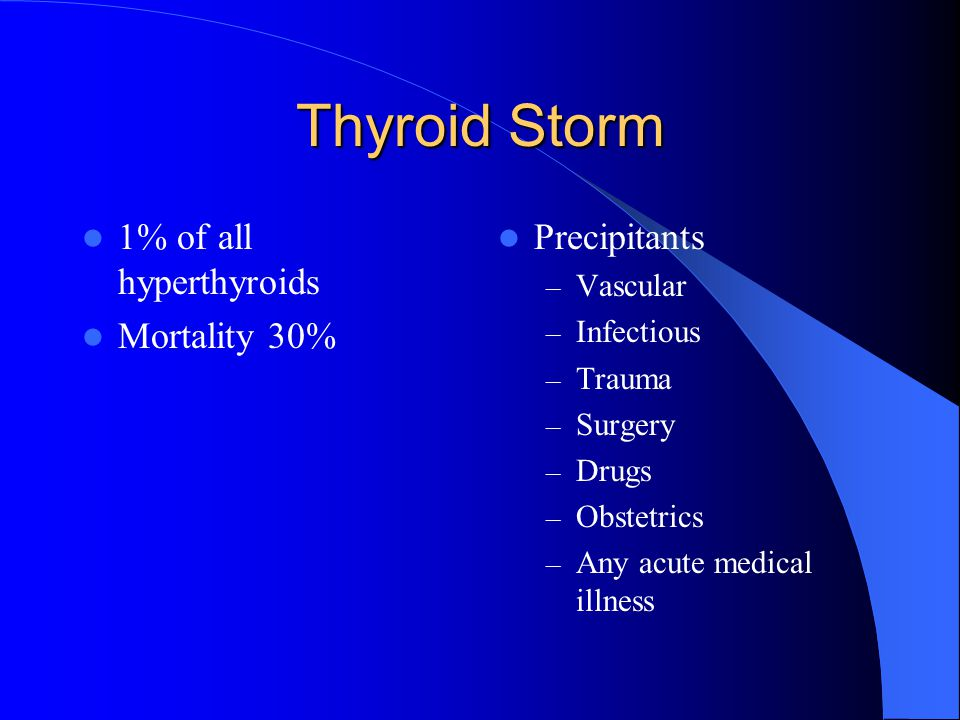 Etiology of Thyroid Storm Undiagnosed Undertreated (Grave's disease or Mulitnodular toxic goiter) Acute Precipitant Thyroid Storm