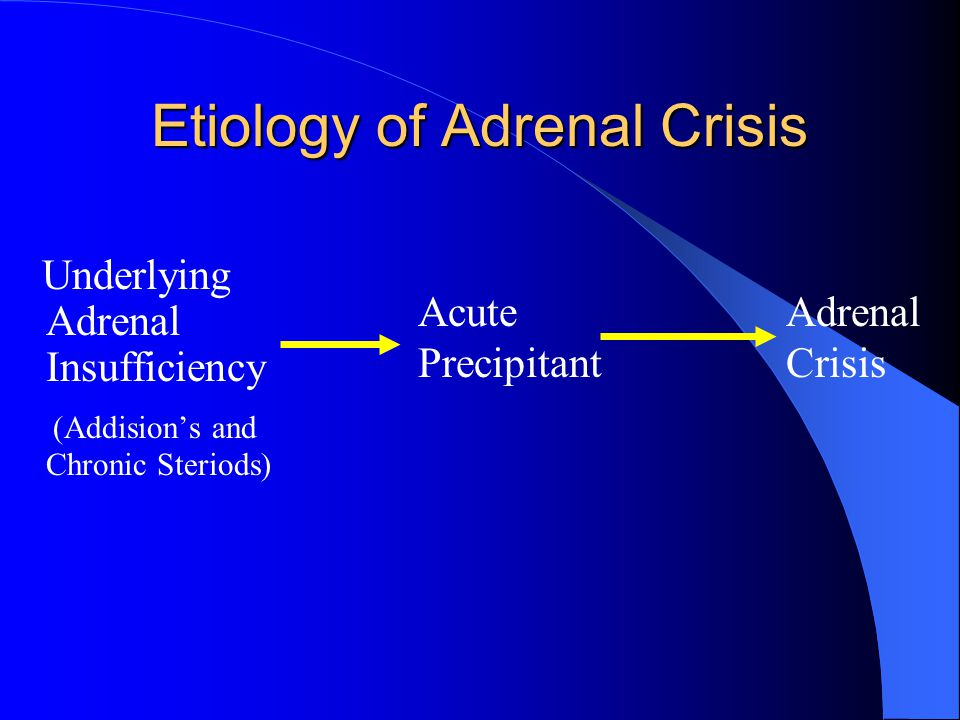 Adrenal Insufficiency Primary = Adrenal disease = Addison's – Idiopathic, autoimmune, infectious, infiltrative, infarction, hemorrhage, cancer, CAH, postop Secondary = Pituitary Tertiary = Hypothalamus Functional = Exogenous steroids