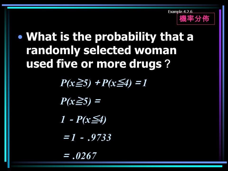 What is the probability that a randomly selected woman used five or more drugs ? Example 4.2.6 P(x ≧ 5) + P(x ≦ 4) = 1 P(x ≧ 5) = 1 - P(x ≦ 4) = 1 -.9733 =.0267 機率分佈