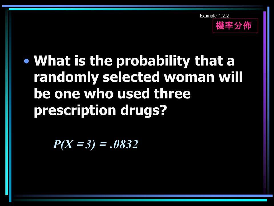 Example 4.2.2 What is the probability that a randomly selected woman will be one who used three prescription drugs.