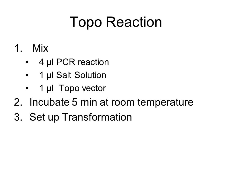 Topo Reaction 1. Mix 4 μl PCR reaction 1 μl Salt Solution 1 μl Topo vector 2.Incubate 5 min at room temperature 3.Set up Transformation