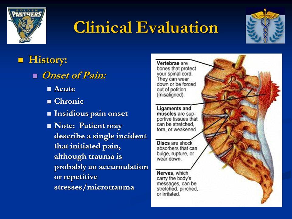 History: History: Onset of Pain: Onset of Pain: Acute Acute Chronic Chronic Insidious pain onset Insidious pain onset Note: Patient may describe a sin