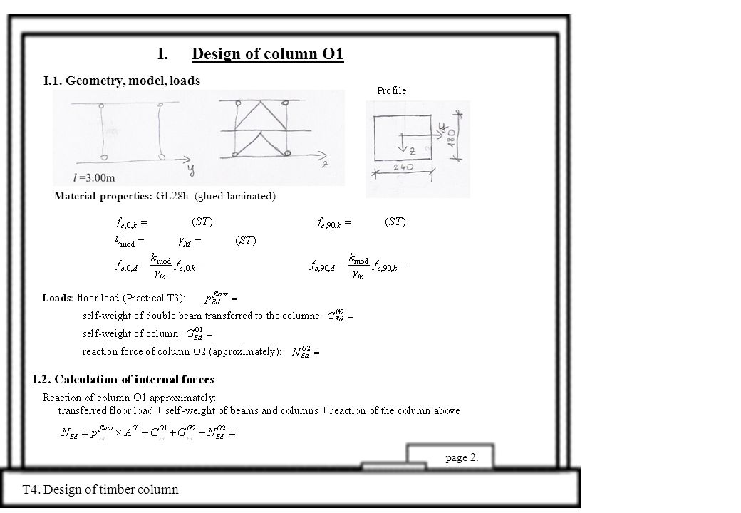 Material properties: GL28h (glued-laminated) I.Design of column O1 I.1.