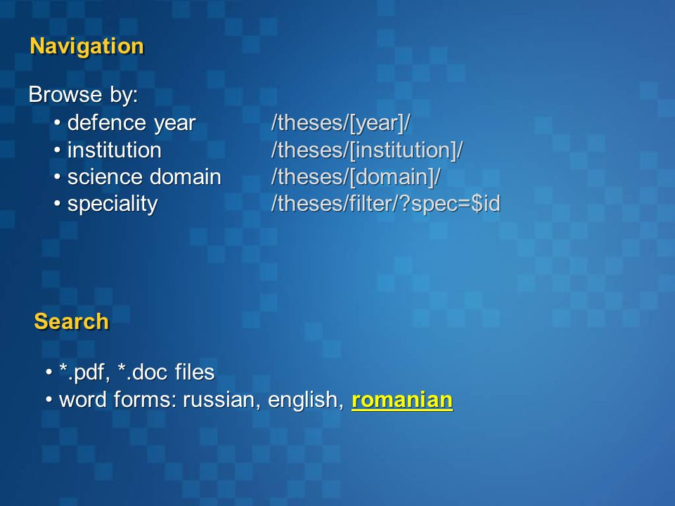 defence year institution science domain speciality defence year institution science domain speciality Navigation Search *.pdf, *.doc files word forms: russian, english, romanian *.pdf, *.doc files word forms: russian, english, romanian Browse by: /theses/[year]/ /theses/[institution]/ /theses/[domain]/ /theses/filter/ spec=$id /theses/[year]/ /theses/[institution]/ /theses/[domain]/ /theses/filter/ spec=$id