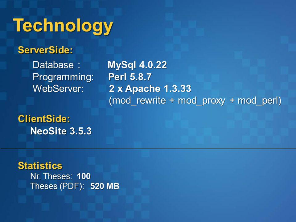 Technology Database : MySql 4.0.22 Programming: Perl 5.8.7 WebServer: 2 x Apache 1.3.33 (mod_rewrite + mod_proxy + mod_perl) Database : MySql 4.0.22 Programming: Perl 5.8.7 WebServer: 2 x Apache 1.3.33 (mod_rewrite + mod_proxy + mod_perl) NeoSite 3.5.3 ClientSide: ServerSide: Statistics Nr.