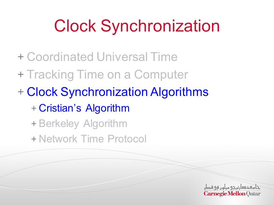 Clock Synchronization Coordinated Universal Time Tracking Time on a Computer Clock Synchronization Algorithms Cristian's Algorithm Berkeley Algorithm Network Time Protocol