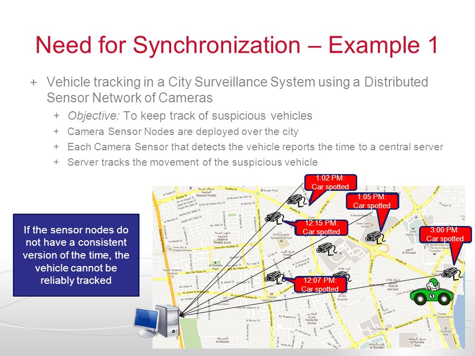 Need for Synchronization – Example 1 Vehicle tracking in a City Surveillance System using a Distributed Sensor Network of Cameras Objective: To keep track of suspicious vehicles Camera Sensor Nodes are deployed over the city Each Camera Sensor that detects the vehicle reports the time to a central server Server tracks the movement of the suspicious vehicle 1:00 PM: Car spotted 1:05 PM: Car spotted 1:08 PM: Car spotted 1:15 PM: Car spotted 1:17 PM: Car spotted 3:00 PM: Car spotted 1:05 PM: Car spotted 1:02 PM: Car spotted 12:15 PM: Car spotted 12:07 PM: Car spotted If the sensor nodes do not have a consistent version of the time, the vehicle cannot be reliably tracked
