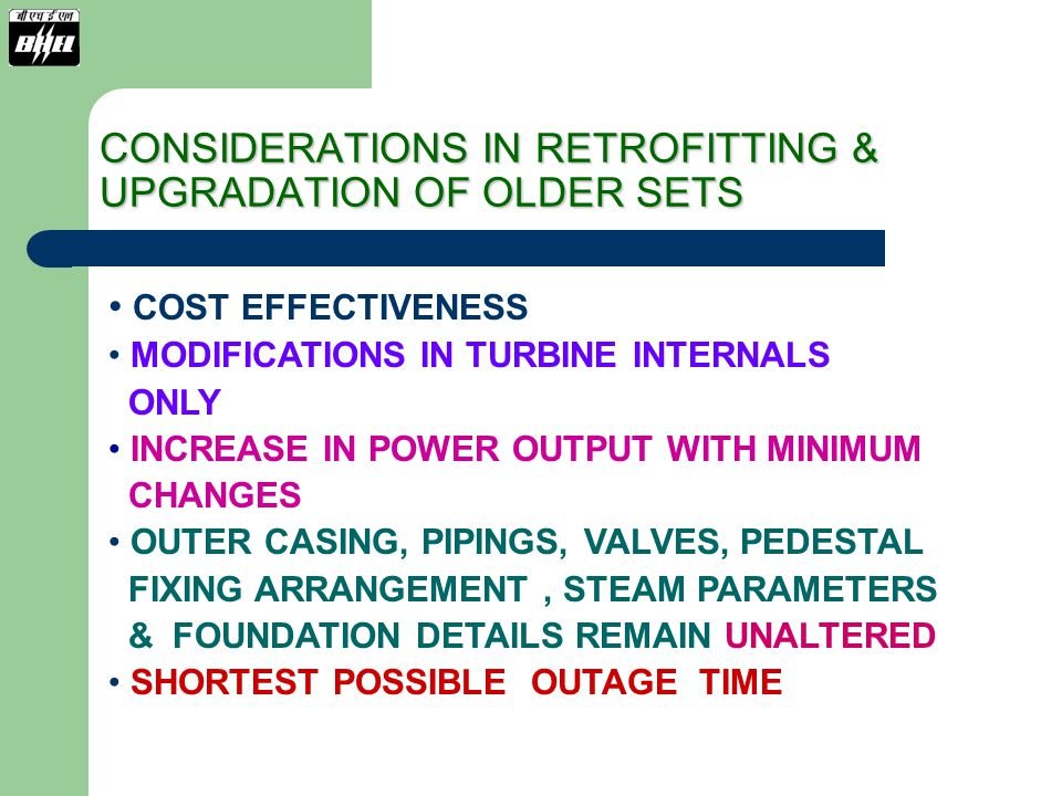 210 MW STEAM TURBINE (REACTION DESIGN SET-KWU) IP TURBINE RETROFITTING 210 MW REACTION TURBINE WITH IMPROVED T4 PROFILE BLADING ADVANTAGE: IMPROVED PERFORMANCE.