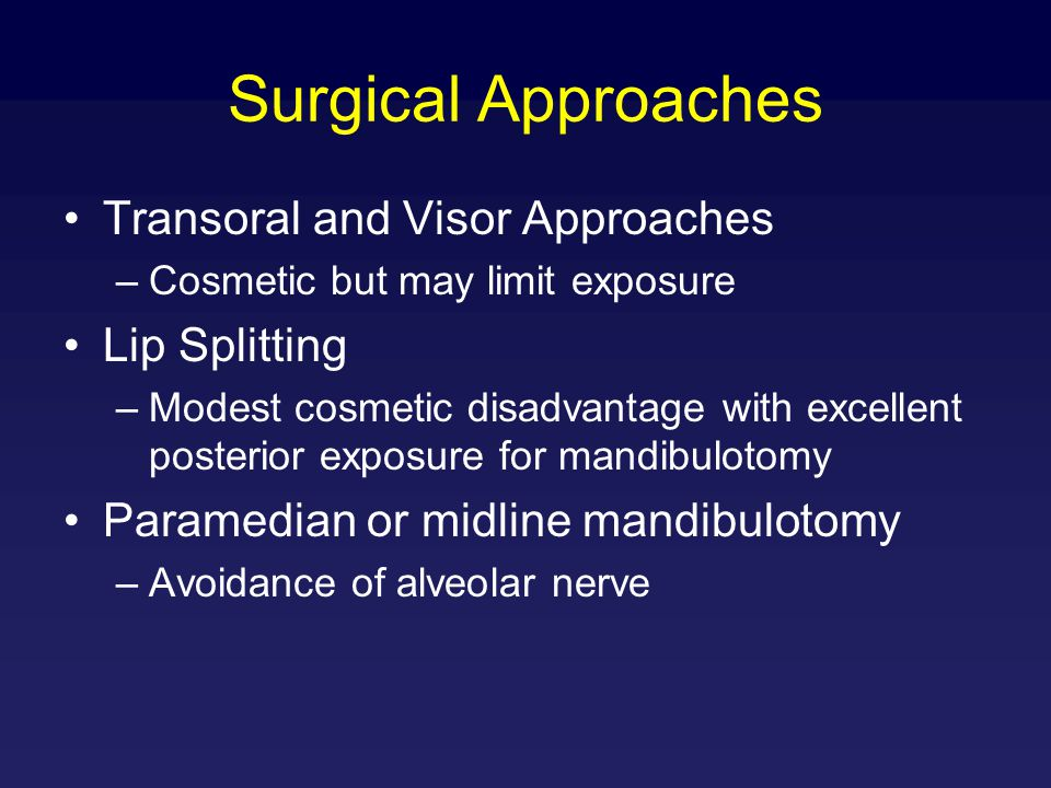 Surgical Approaches Transoral and Visor Approaches –Cosmetic but may limit exposure Lip Splitting –Modest cosmetic disadvantage with excellent posteri
