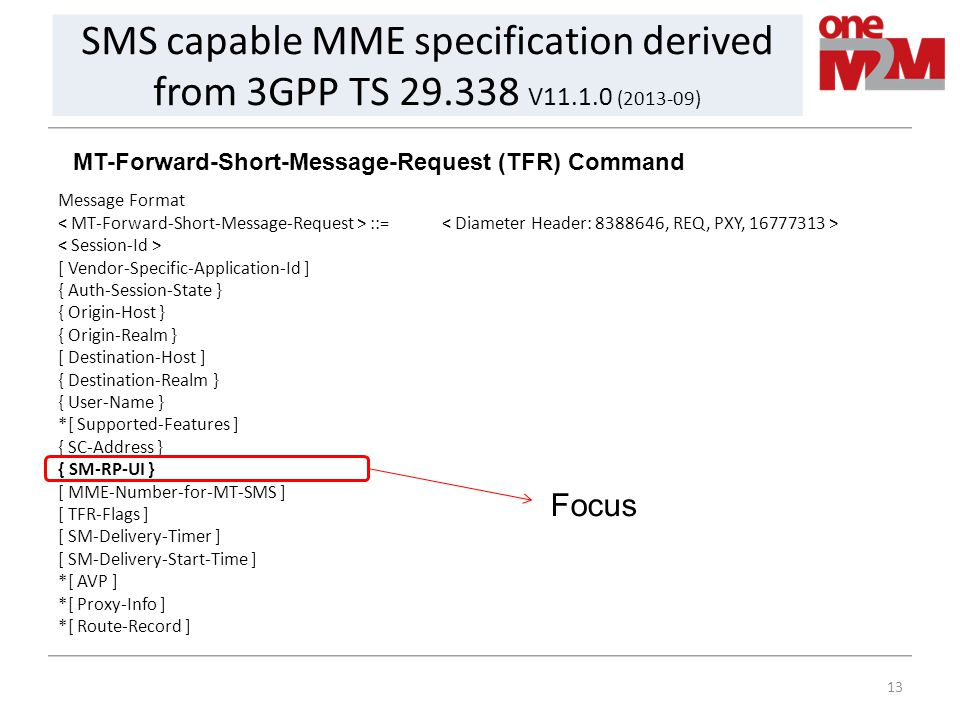 13 SMS capable MME specification derived from 3GPP TS 29.338 V11.1.0 (2013-09) MT-Forward-Short-Message-Request (TFR) Command Message Format ::= [ Ven