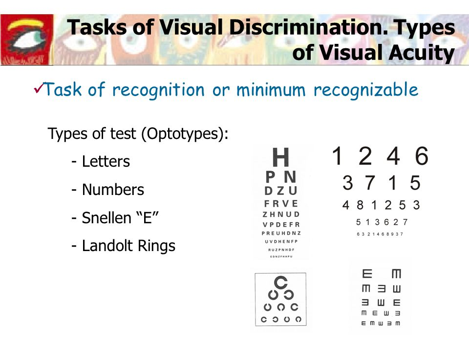 "Tasks of Visual Discrimination. Types of Visual Acuity Types of test (Optotypes): - Letters - Numbers - Snellen ""E"" - Landolt Rings Task of recognitio"