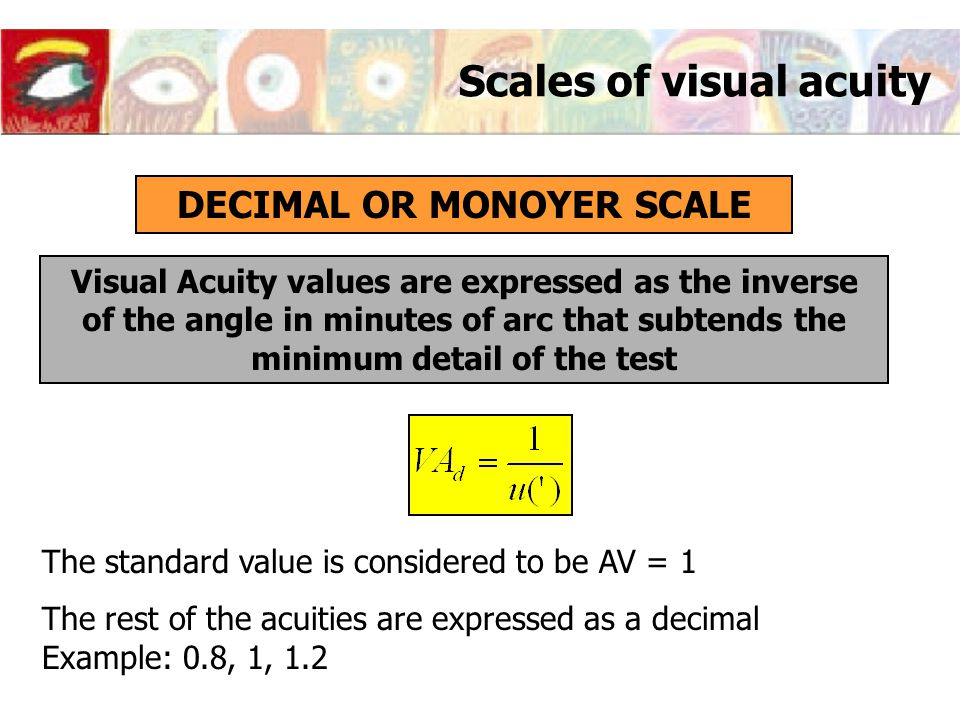Scales of visual acuity DECIMAL OR MONOYER SCALE Visual Acuity values are expressed as the inverse of the angle in minutes of arc that subtends the mi
