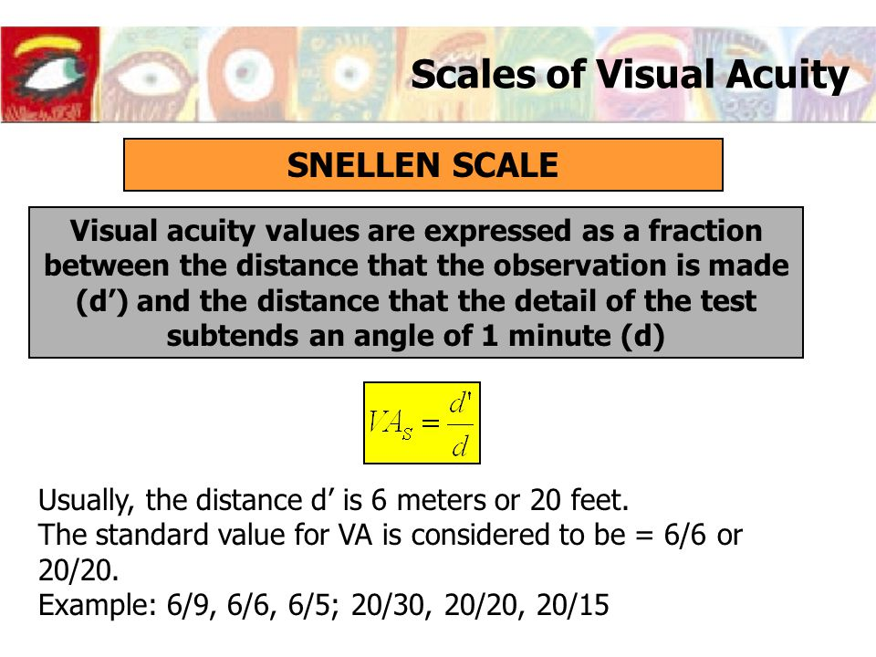 Scales of Visual Acuity SNELLEN SCALE Visual acuity values are expressed as a fraction between the distance that the observation is made (d') and the
