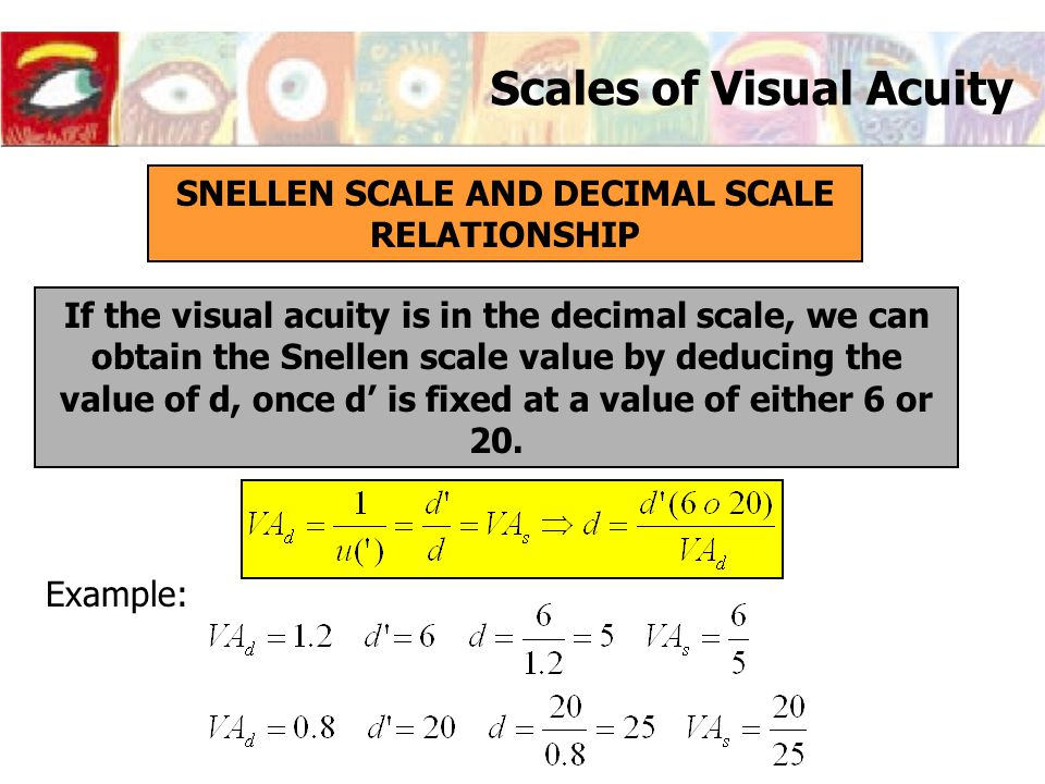 Scales of Visual Acuity SNELLEN SCALE AND DECIMAL SCALE RELATIONSHIP If the visual acuity is in the decimal scale, we can obtain the Snellen scale val