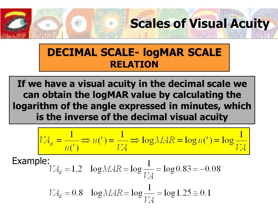 Scales of Visual Acuity DECIMAL SCALE- logMAR SCALE RELATION If we have a visual acuity in the decimal scale we can obtain the logMAR value by calcula