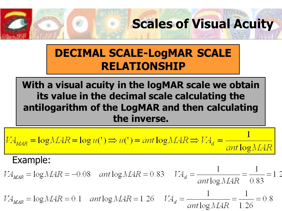 Scales of Visual Acuity DECIMAL SCALE-LogMAR SCALE RELATIONSHIP With a visual acuity in the logMAR scale we obtain its value in the decimal scale calc