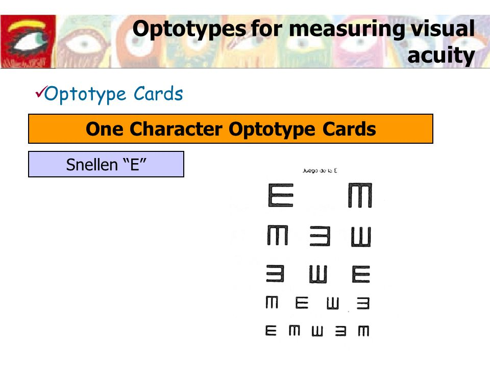 "Optotypes for measuring visual acuity Optotype Cards One Character Optotype Cards Snellen ""E"""