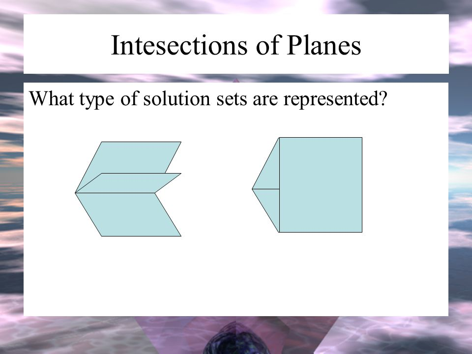 Intesections of Planes What type of solution sets are represented?