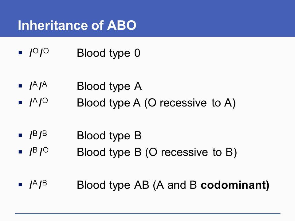 Inheritance of ABO  I O I O Blood type 0  I A I A Blood type A  I A I O Blood type A (O recessive to A)  I B I B Blood type B  I B I O Blood type B (O recessive to B)  I A I B Blood type AB (A and B codominant)