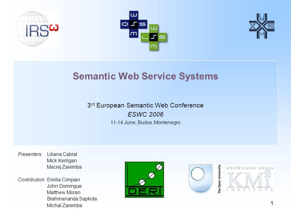 1 Semantic Web Service Systems 3 rd European Semantic Web Conference ESWC 2006 11-14 June, Budva, Montenegro Presenters:Liliana Cabral Mick Kerrigan M