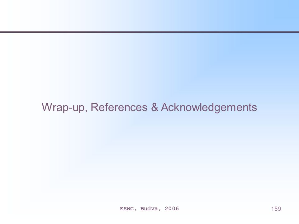 ESWC, Budva, 2006159 Wrap-up, References & Acknowledgements